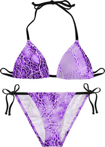 Purple, violet thunderstorm bikini set, thunder strikes, bolts pattern, storm themed sunbathing suit