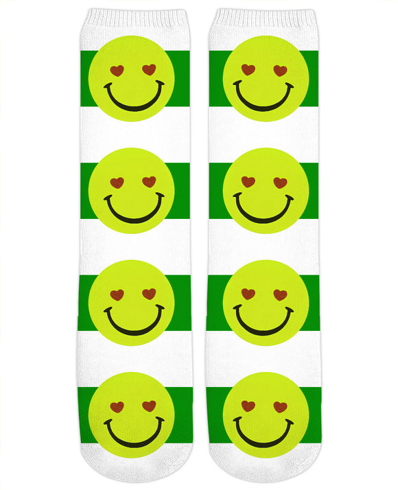 Emoji face and green stripes pattern Crew Socks Design
