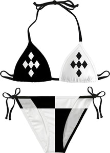 Harley Quinn style bikini, black and white geometric pattern, two colors asymetric girls swimsuit