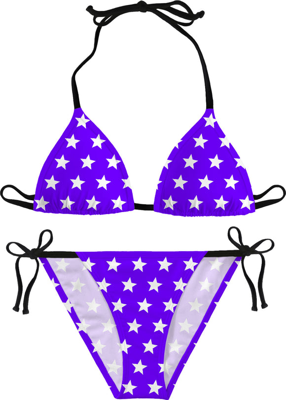 White stars on purple bikini design, geometric pattern girls sunbathing set, sexy swimsuit