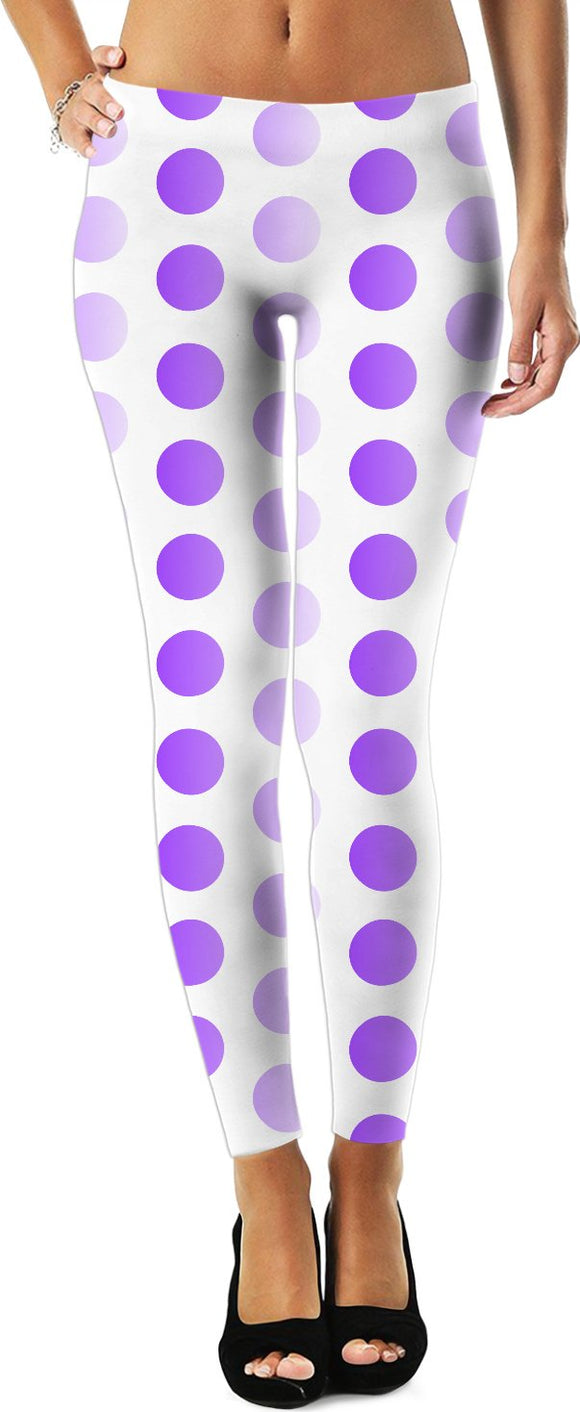 Polka dots leggings, two tones white, purple, violet circles pattern, retro themed