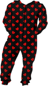 Red drawn hearts pattern on black, unisex style onesie, lovely love custom pajama design