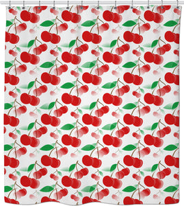 Vector cherries pattern colorful shower curtain design, stylish fadded fruits themed bathroom decor