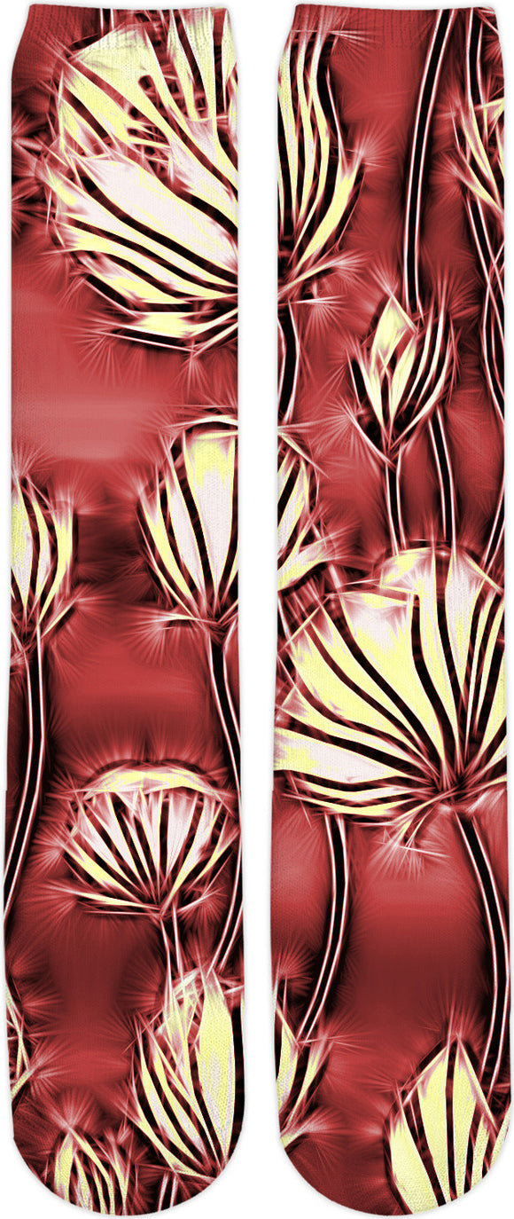 Light yellow electrified flowers, canary yellow floral abstract pattern on black, deep red color fabric socks