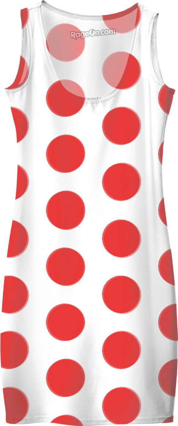 Red on white color polka dot theme, classic circles, vintage pattern, simple dress design