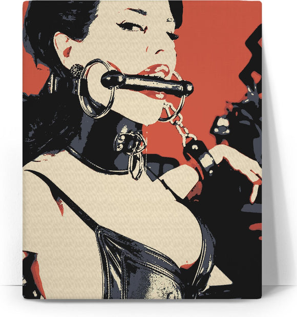 Playing naughty games of sex and submission, sexy brunette girl submissive, erotic canvas art print