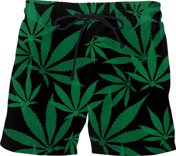 Smoke weed every day! Ganja, cannabis leafs pattern swim shorts, short pants design