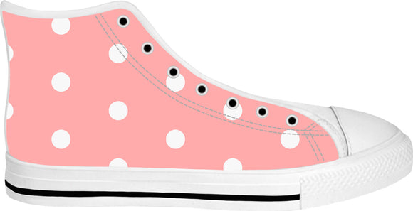 Pastel pink and white polka dots pattern, classic, retro style white high tops design