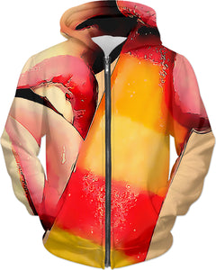 Lick me dirty, naughty all-over-print hoodie, cartoon style lips and ice cream