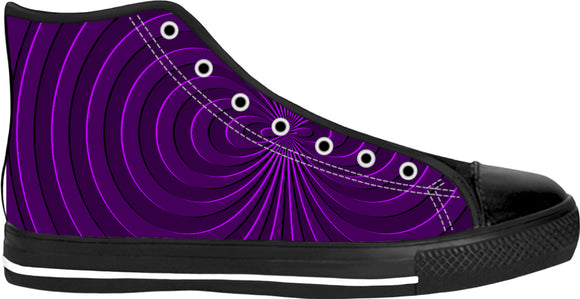 Trippy purple curves pattern, 3d effect, custom black high top shoes, sporty sneakers design