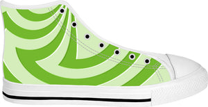Trippy lemon green curves pattern, 3d effect, custom white high top shoes design
