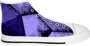 Purple blocks at fabric canvas white high tops, geometric pattern sneaker shoes design