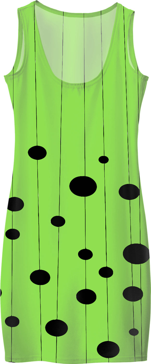 Lemon green and black pattern, geometric dots, light green simple fit dress