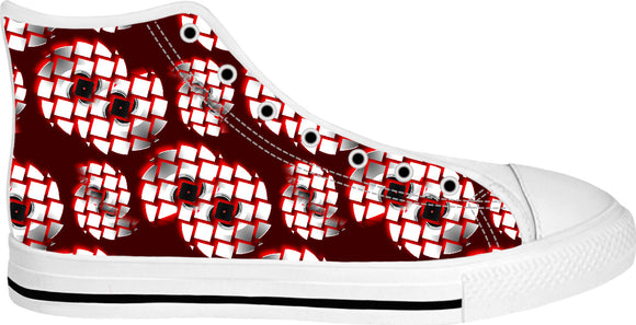 Spinning fragmented CD's pattern, silver, red and black color sneakers, high tops design