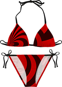 Sexy geometric pattern bikini set in red, near black tones, 3d effect curves, lines theme