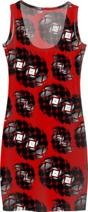Red and black, broken vinyl discs pattern simple fit girls dress design, abstract geometric pattern
