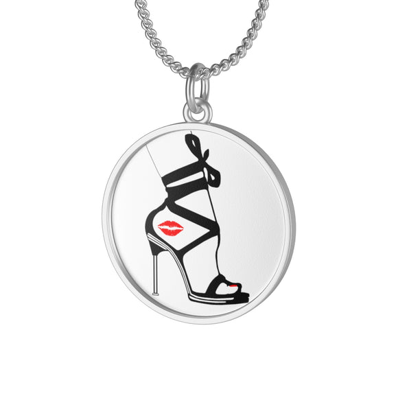 Single Loop Necklace Pendant - Kiss Thy Mistress Feets