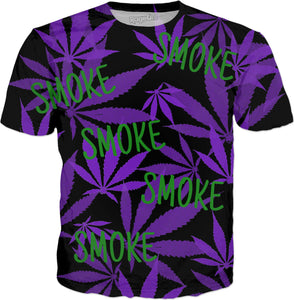 Smoke weed every day! Ganja, cannabis leafs purple pattern tee shirt design