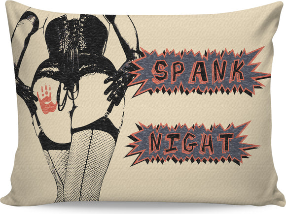 SPANK NIGHT! Kinky adult themed pillowcase, naughty dominatrix lady, burlesque style