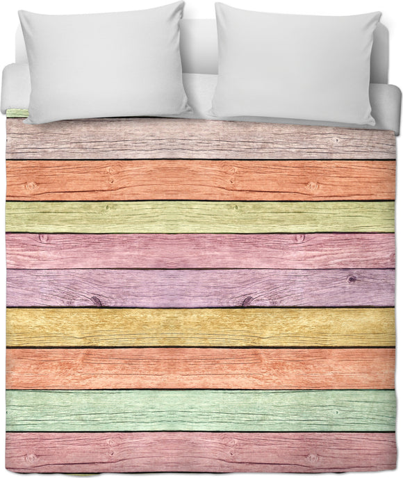 Pastel colors wood boards pattern, horizontal lines colorful bedding decor, duvet cover