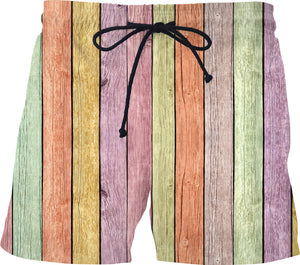 Pastel colors wood boards pattern, vertical lines colorful swim shorts design