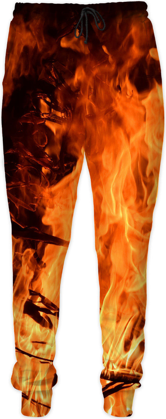 Hot pants! Flames pattern joggers, flaming in night campfire, black and orange jogging pants