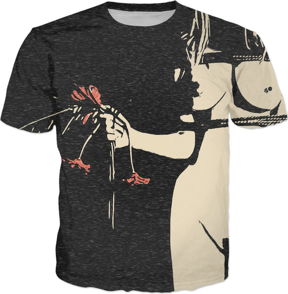 Girl with red flowers, kinky adult tee shirt design, ropes tied blonde, fetish