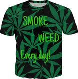 Smoke weed every day! Ganja, cannabis leafs pattern tee shirt design