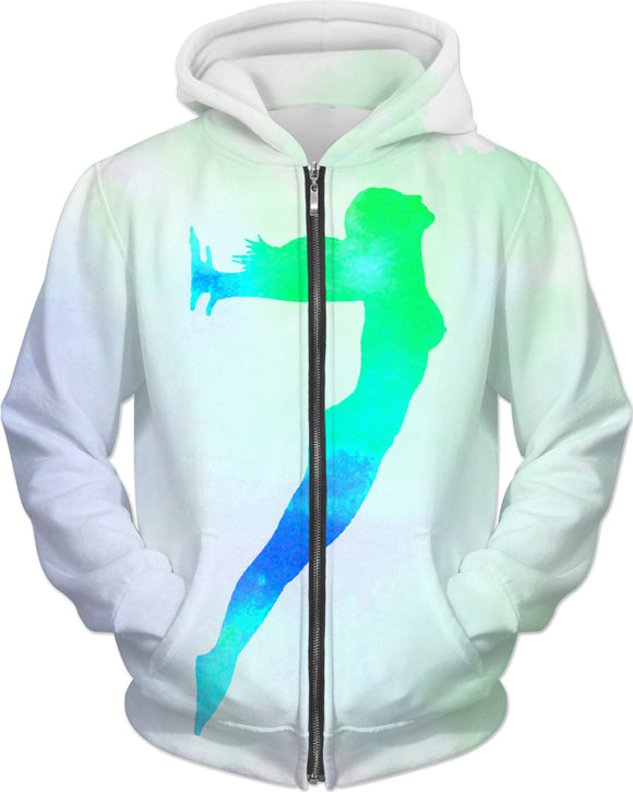 The girl - watercolor paint splash silhouette hoodie, woman body in green, blue