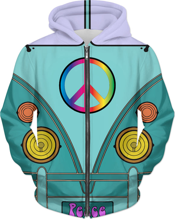 Peace and love in azure blue tones, hipster wagon, bus hoodie, retro