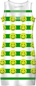 Emoji face and green stripes pattern, happy summer simple dress design