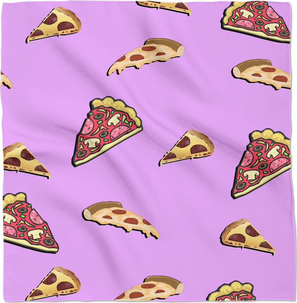 Pizza at pastel pink pattern bandana, yummy fastfood themed kerchief