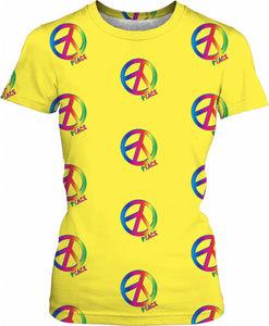 Peace and love yellow girls fit tshirt, hippie symbol woman t-shirt design