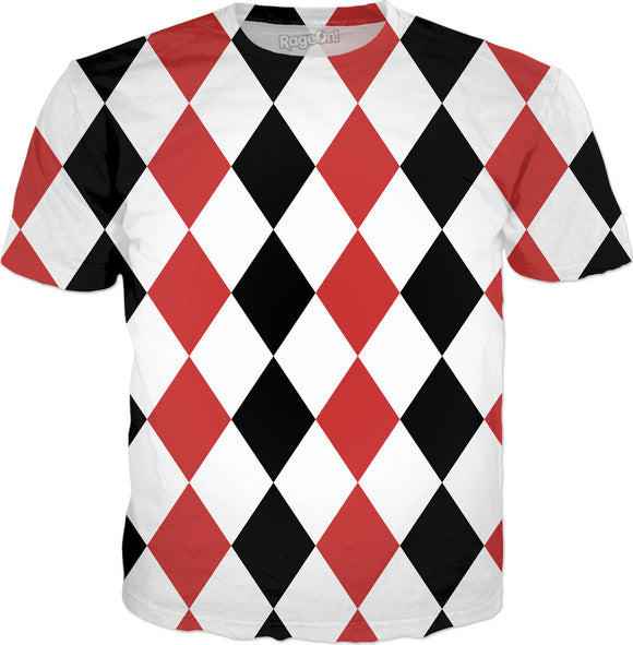Red, black, white tiled pattern shirt, geometric theme, rhombus in Alice in Wonderland, Red Queen style, Harley Quinn like