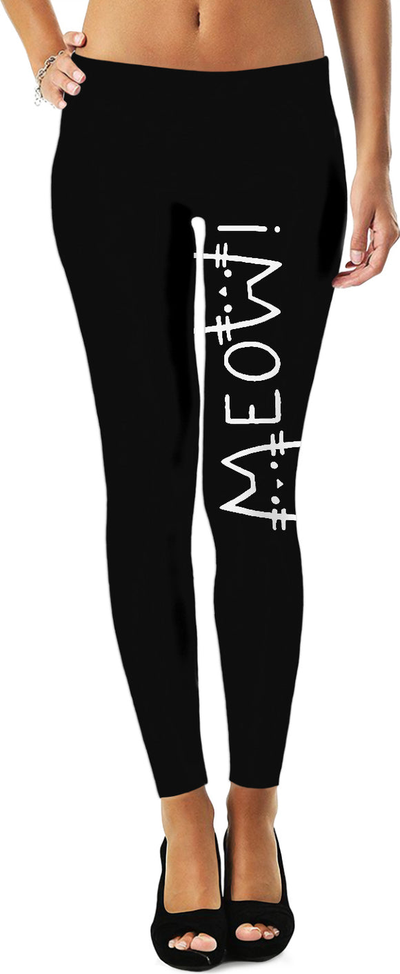 MEOW! black leggings, funny reversed cats vector image, simple design