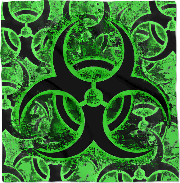 Green and black biohazard sign, bio waste, toxic fallout sign, symbol bandana design