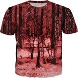 Red Enchanted Forest tee shirt, all-over-print design, oil painted