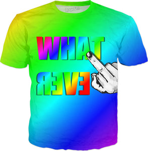 Rainbow colors whatever mirrored, and middle finger hand, cartoon tee shirt design