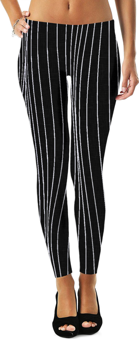 The Strings - asymetric black and white pattern, geometric themed leggings design
