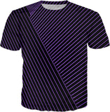 Purple optical illusion, line art at black canvas bacground men's tee shirt design.