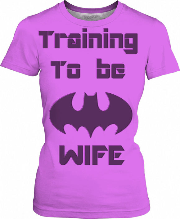 Training to be The Bats Wife, purple tee shirt, comics releated girls t-shirt