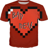 Love, BAD Ideas! All-over-print red tee shirt design v2