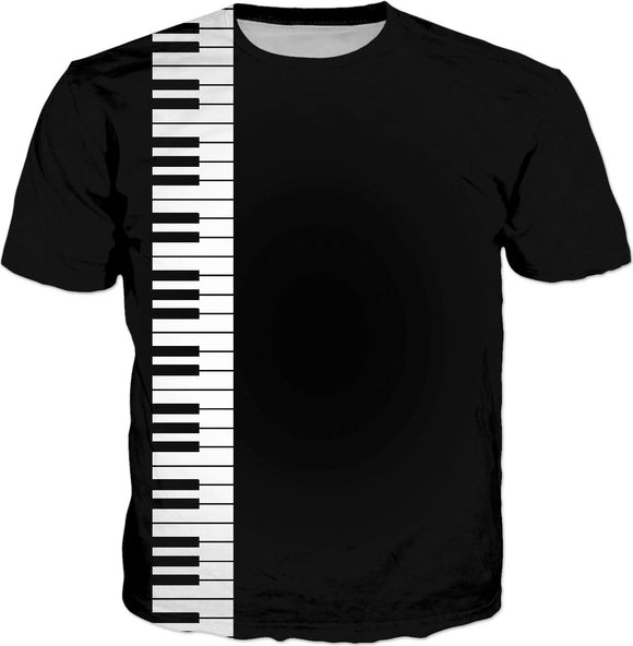 Don't you play with me! Music style tee shirt design, piano keyboard clipart