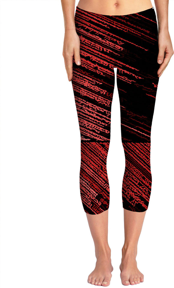 Line Art - The Scratch, red striped pattern, stripes on black fabric canvas yoga pants