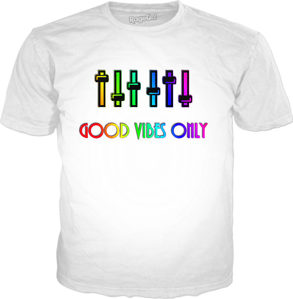 Good Vibes Only classic white tee shirt, positive vibration, rainbow colors palette design