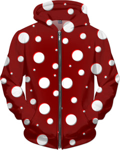 Mushroom pattern unisex Hoodie, classic polka dot, asymetric design, dark red, scarlet, white dots