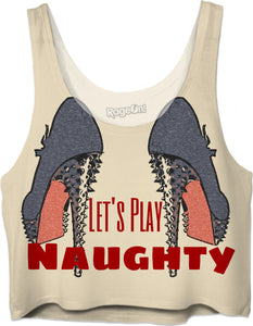 Let's Play Naughty! Sexy fetish high heels, steel blue, kinky crop top