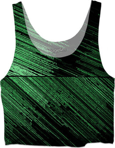 Line art - the scratch, green and black crop top, horizontal orientation