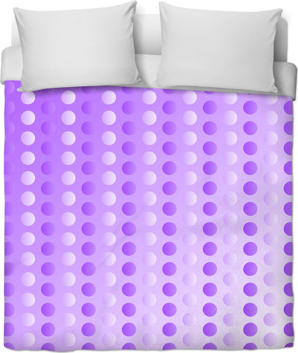 Polka dots duvet cover, two tones white, purple, violet circles pattern, retro themed bedroom