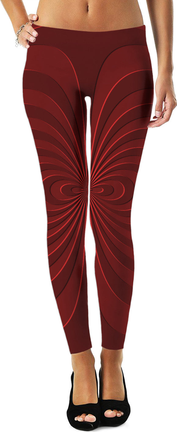 Trippy curves, spirals pattern, red on scarlet, geometric themed leggings design
